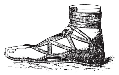 Greek shoe, vintage engraving.