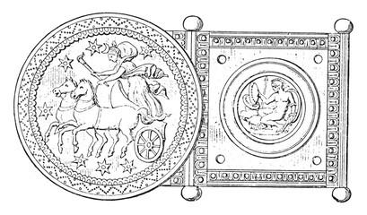Silver buckle, vintage engraving.