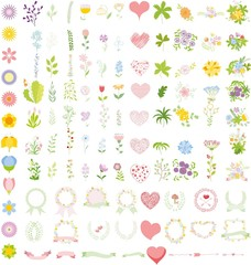 Set of wedding graphic set- wreath, flowers, arrows, hearts, laurel, ribbons and labels, brushes depicting an award achievement heraldry nobility, hand drawing vector illustration