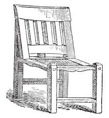 Egyptian joint chair, vintage engraving.
