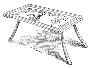 Egyptian table with three feet, vintage engraving.