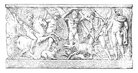 A hunt, vintage engraving.