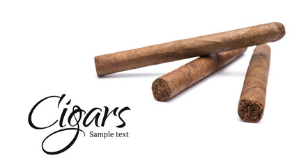 Three cigars on white