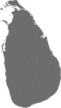Grey, detailed map of Sri Lanka divided into provinces