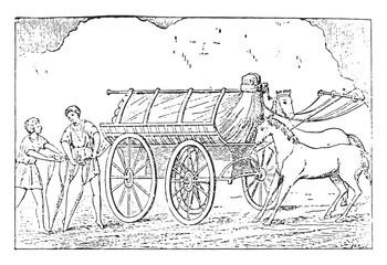 Further transport, vintage engraving.
