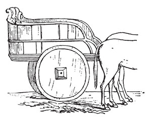 Farm truck, vintage engraving.