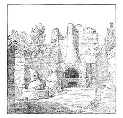Bakery in Pompeii, vintage engraving.