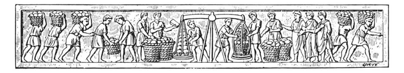 Bread making, vintage engraving.