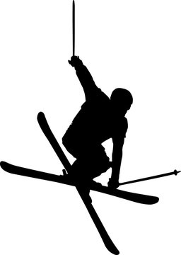 Freestyle skier. Black shape of skier during freestyle jump