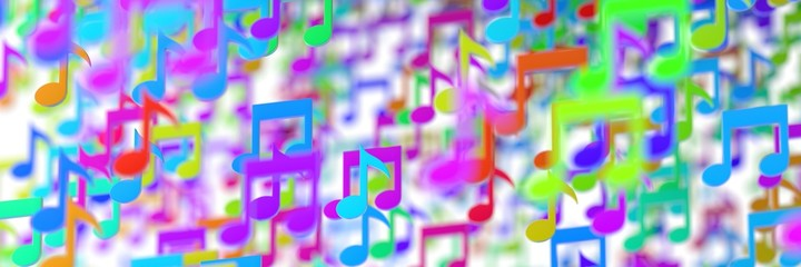 Many musical notes, 3d illustration