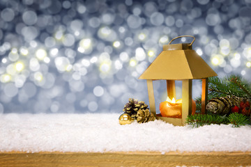 Christmas background with winter lantern and snow.