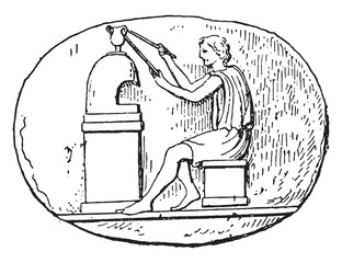 Opening of a vase, vintage engraving.