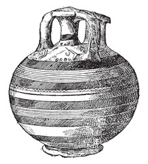 Vase found at Mycenae, vintage engraving.