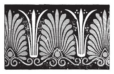 Greek palmette, vintage engraving.