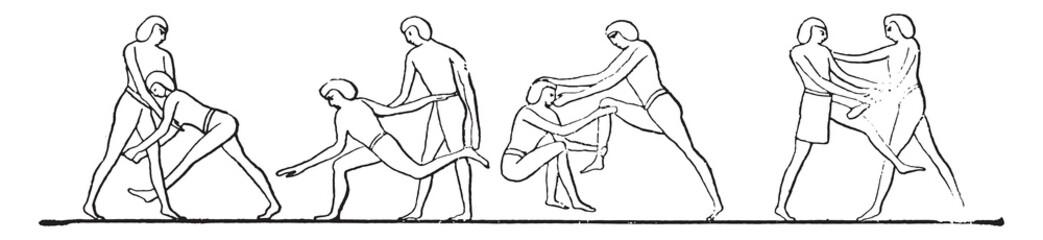 Egyptian wrestlers, vintage engraving.