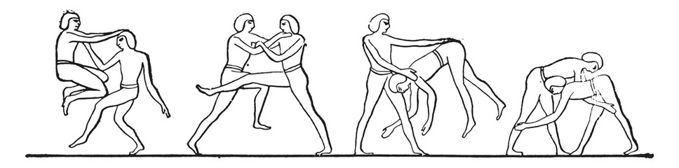 Egyptian wrestlers, vintage engraving.