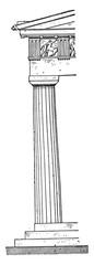 Parthenon Corner column, vintage engraving.