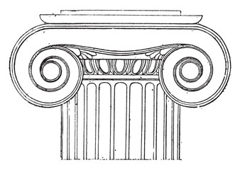 Ionic capital of the Temple of Wingless Victory, vintage engravi