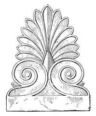Palmette Parthenon, vintage engraving.