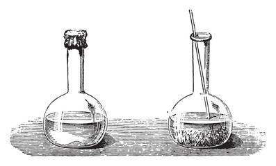 Instant crystallization of sodium sulfate, vintage engraving.