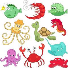 Sea inhabitants: octopus, pufferfish, starfish, sea-horse, crab,