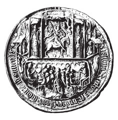 Seal of the University of Angers in the Middle Ages, vintage eng