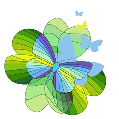 Soars rainbow butterfly on a leaf clover