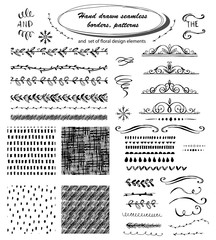 Set of hand drawn seamless borders, patterns. Cute vector dividers, borders, set of floral design elements. Ink illustration