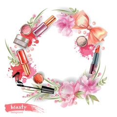 Cosmetics and fashion background with wreath of make up artist objects and flowers Vector illustration.
