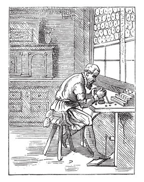 A lapidary in the sixteenth century, vintage engraving.
