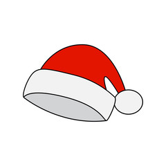 Santa hat, Christmas cap icon, symbol, design. Winter vector illustration isolated on white background.