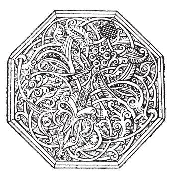 Arabesque, vintage engraving.