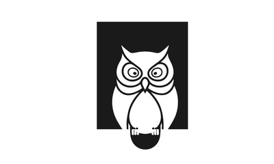 Icons / symbols owl with big eyes sharp, Owl Bird Silhouette