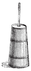Butter churn, vintage engraving.