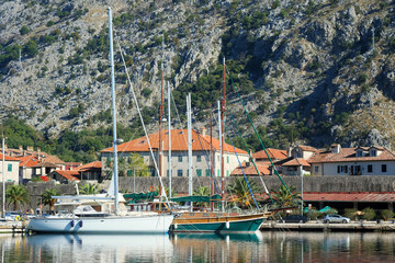 Sea landscape with the image of Montenegro port