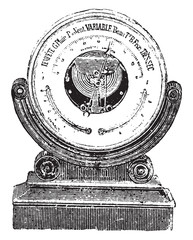 Aneroid barometer, vintage engraving.