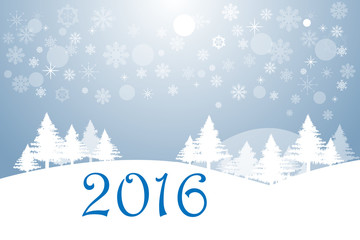 Happy new year and winter landscape
