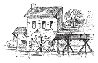 Mill race, vintage engraving.