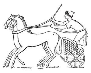Chariot, vintage engraving.