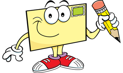 Cartoon illustration of an envelope holding a pencil.