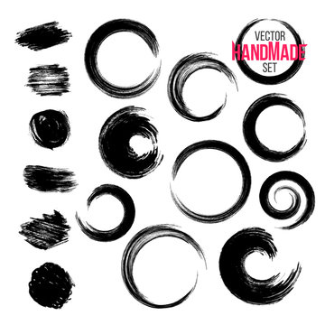 Grunge circle brush strokes set. Hand made artistic collection, for logo, business design.  Vector