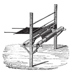 Device to extend the rubber on fabrics, vintage engraving.