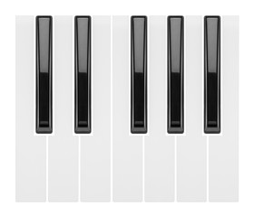 fragment of a piano keyboard isolated on white background