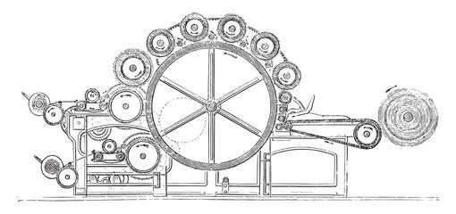 Carding machine finishing wool, vintage engraving.
