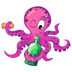 Cute cartoon octopus with bottle