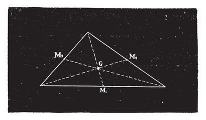 Triangle center of gravity, vintage engraving.