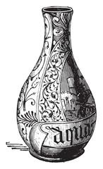 Majolica, Pharmacy Vase, vintage engraving.