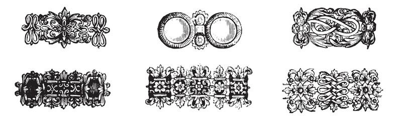 Specimens chains seventeenth century, vintage engraving.