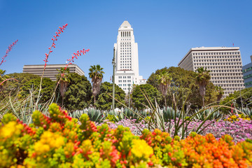 Photo sur Plexiglas Los Angeles Town hall view with flowers in LA downtown, USA