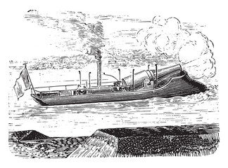 Farcy gunboat, vintage engraving.